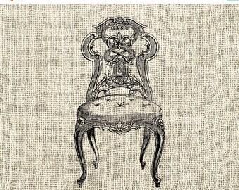 40% OFF SALE Chair Illustration Digital Download - Antique Vintage Chair Clipart Graphic Printable Transfer Craft Scrapbook INSTANT Download