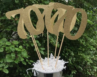 70th Birthday Centerpiece Sticks,  Glitter 70th Birthday Decoration, 70th Birthday Table Decorations, Age Cutouts