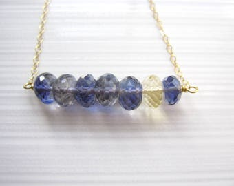Iolite Necklace with Large Rondelles, Blue Gemstone Gift, Iolite and Citrine, Water Sapphire, Row Necklace, Layering