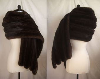 Magnificent Mahogany Ranch MINK FUR WRAP Stole Cape Shawl Coat Jacket Throw ~ Brown Black ~ Gift-worthy  ~ No monogram!
