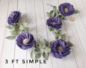 Purple Felt Flower Nursery Garland