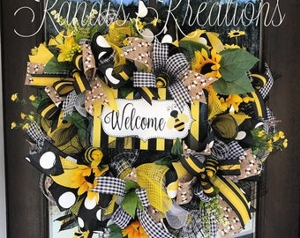 Bee themed spring and summer wreath