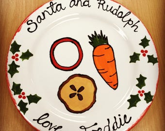 Personalised Santa and Rudolph Christmas Plate