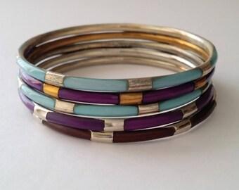 Vintage Brass Bangle Bracelet Lot of 5 pieces