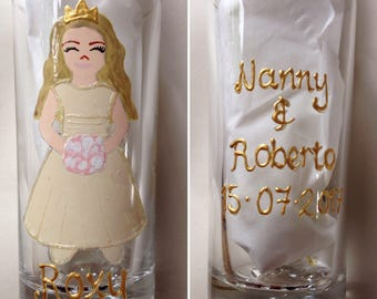 Hand painted glass for bridesmaid, flowergirl gift, wedding, tumbler, bridesmaid gift, personalised gift, personalized