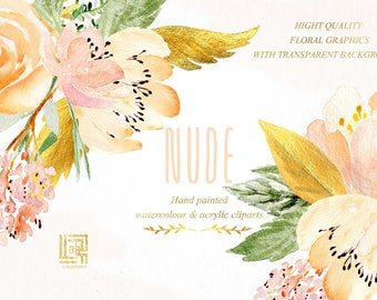 NUDE & GOLD, Bouquets, wreath header, watercolour and acrylic clipart. Nude beige and gold  soft watercolor collection. Peonie and roses.