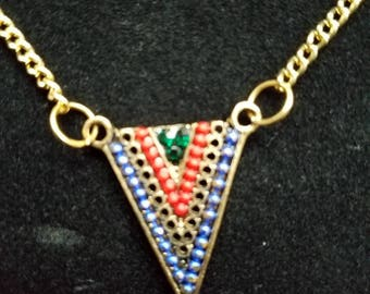Beaded Penant on Brass Chain