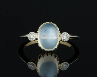 Late Art Deco natural moonstone and diamond three stone ring
