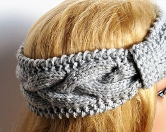 Gray Ear Warmer,Light Grey Ear Warmer, Knitting Winter Headband, Knit and Crochet Headband ,Winter Turban, Women Headband,Wool Ear Warmer
