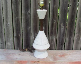 Vintage 1950's White Ceramic Lamp with Speckled Glaze and Teak Accents