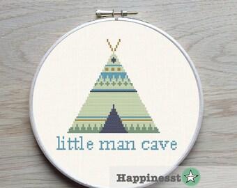 cross stitch pattern little man cave, modern cross stitch, wigwam, tipi, native american, kids, boys, PDF pattern ** instant download**