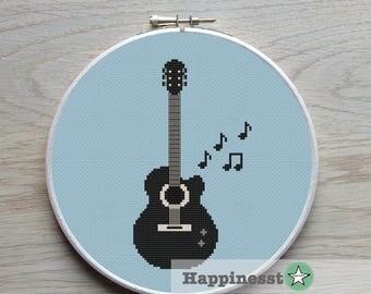 cross stitch pattern guitar, modern cross stitch, music,  PDF,  ** instant download**