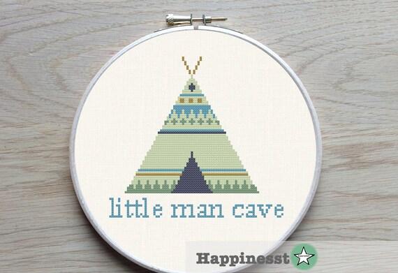 Man Cave Kings Cross : Cross stitch pattern little man cave modern