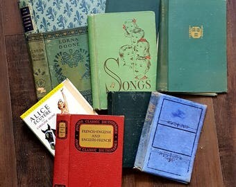 9 old antique book covers only