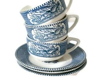 Vintage Currier & Ives Royal Blue