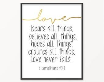 1 Corinthians 13:7, Gold Foil Print, Scripture, Bible Verse