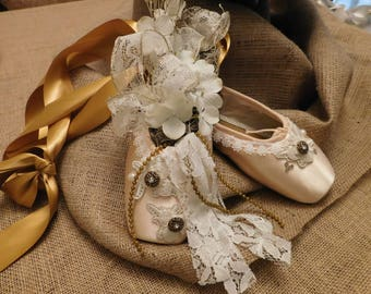 Beige and Gold Deorated Pointe Shoes
