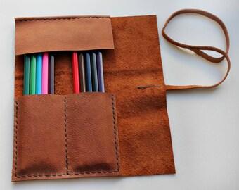 Leather Pencil Case Roll , Tool Roll, Brush Roll, Art Wrap, Makeup Roll, rollmäppchen lederl, Pencil Organiser, Back to School, organize