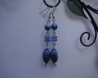 Blue earrings, blue beaded earrings, blue stone earrings, long earrings, drop earrings, something blue