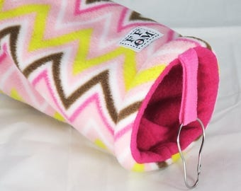 Guinea pig fleece tunnel - pink & brown chevron  - guinea pig accessories - hideout - hammock for rats - sugar glider - READY TO SHIP