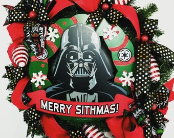Star wars Wreath, Star Wars Christmas Wreath, Christmas Wreath, Door Decor, Star Wars Decor, Christmas Decor, Darth Vader wreath