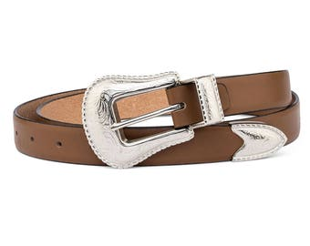 Thin Leather Belt Western belts for women Beige Cowgirl silver buckle Italian suede leather
