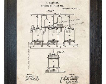 Framed Patent Art - Improvement In Brewing Beer And Ale WITH Real Rustic Wood Frame - Framed Patent Print