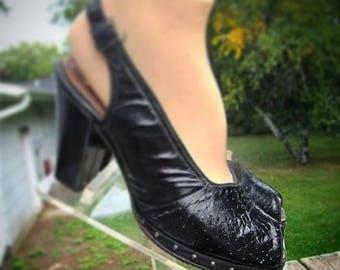1940s Black Studded Platform Peep Toe Sling Back Shoes!