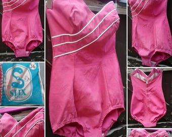 FLASH SALE****Pin Up Perfection 1950s Pink Strapless Bathing Suit!