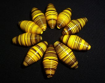 """Yellow egg"" set of 10 oval yellow paper beads (ideal for design of earrings)"