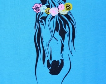 Horse Hippie Flower Crown Tee