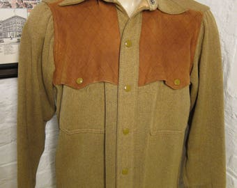 Size L (42R) ** Incredible 1940s Wool and Suede Leather Hunting Jacket