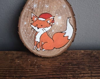 Painted and wood burned fox in the snow tree ornament