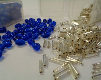 Glass Beads, Tear Drop Shape, Gorgeous Cobalt Blue, with Silver Bugle Beads and Two Handy Storage Containers