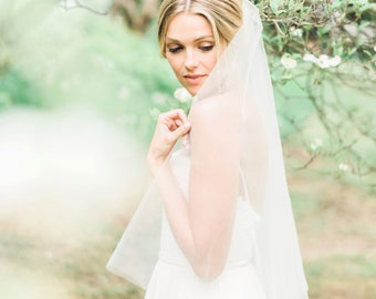Delphine Gathered Fingertip Veil, Double Layer Veil, Fingertip Veil, Wedding Veil, Veil with Blusher, Double Veil, Circular Veil