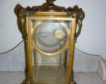 Antique French Bronze Mantle Clock Case Highly Ornamented Lions Feet 19 Cent