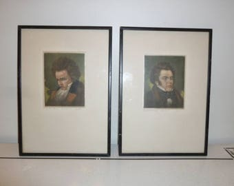 Set of two portraits European painted on silk of Schubert and Beethoven circa 1900s