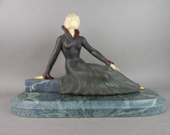 French Art Deco style figural lady chryselephantine sculpture signed MELANI