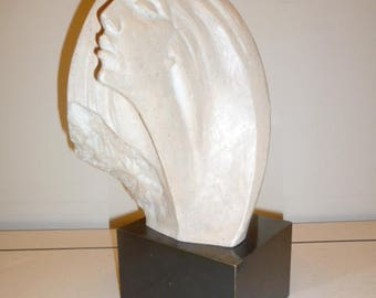 Art Deco style vintage plaster sculpture of lady bust made by AUSTIN PRODUCTION circa 1980