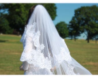 Lace Veil, Alencone Lace Cathedral Wedding Veils, Blusher Veil, Two Tiers Cathedral Veils, Wedding Veil, Wedding Accessories, Bridal Veils