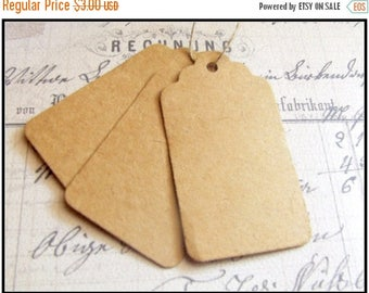 SUMMER SALE 25 Paper Tags, Brown Hang Tags, Wedding Favor Tags