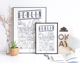 "Berlin - series illustration ""Travel With Me"". Black and white. 32x45cm"