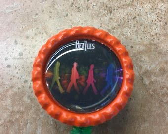 Beatles Inspired Bottlecap Retractable ID Badge Holder Name Tag Reel