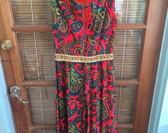 Gorgeous Vintage Saks Fifth Avenue Embellished Wide Leg Pants Jumpsuit Red Colorful Paisley Pattern