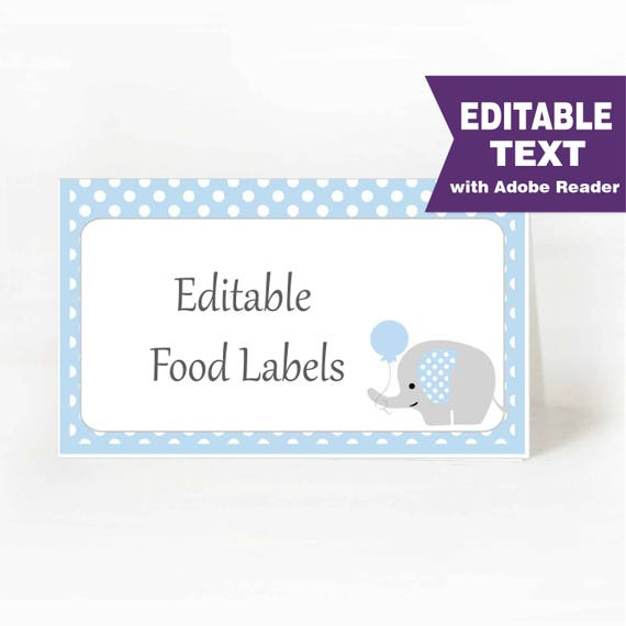 Elephant Food Labels, Buffet table, Printable Party, Blue and Gray Elephant With Balloon, DIY Printable, Instant Download -D933 BBEB1