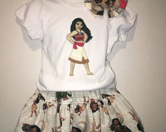 Girls Moana Skirt Set Boutique Birthday Party Twirl Twirly Skirt Embroidered Shirt TShirt Outfit! Polynesian Princess Hair Bow Hairbow Maui