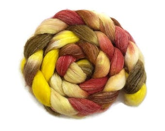 Merino wool, silk and bamboo hand painted/hand dyed roving, top 4 oz, fiber for spinning or felting