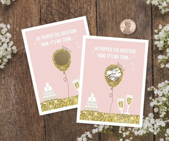 Ask Bridesmaid Scratch off Card. Blush Will You Be My Bridesmaid Card Gold scratching off sticker