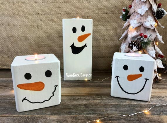 Snowmen Decorations Snowman Candle Holders Christmas Mantle