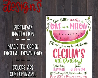 Watercolor Watermelon Birthday Invitation